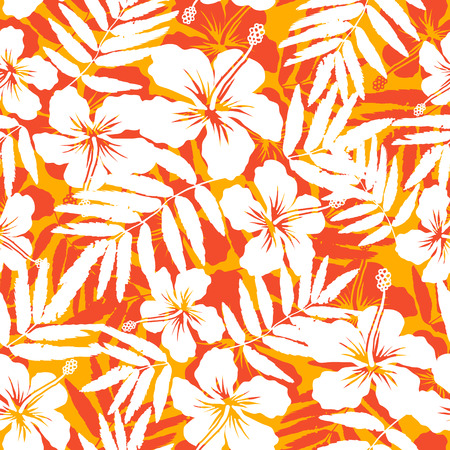 monstera leaf: Orange and white tropical flowers silhouettes seamless pattern