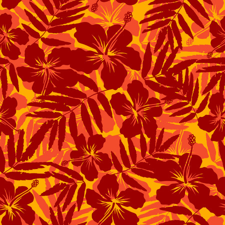 Red and orange tropical flowers silhouettes seamless pattern Vettoriali