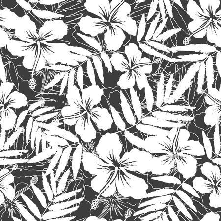hibiscus: Blanco y gris flores tropicales siluetas patrón sin fisuras