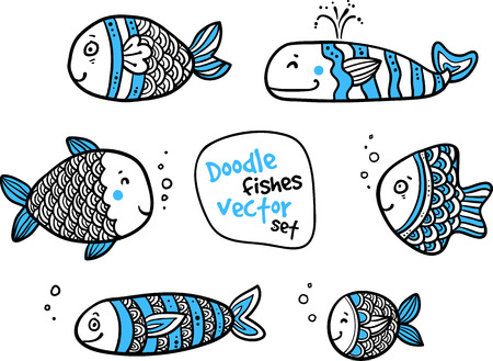 outline drawing of fish: Set of black and white fishes in doodle ink style