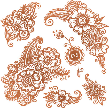 mhendi: Hand-drawn ornaments set in Indian mehndi style Illustration