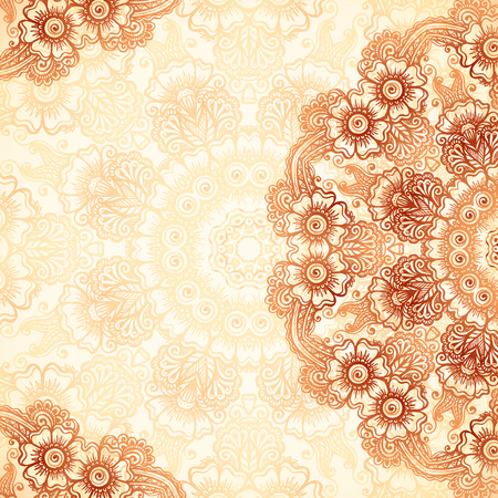 Hand-drawn vintage background in mehndi style Vectores