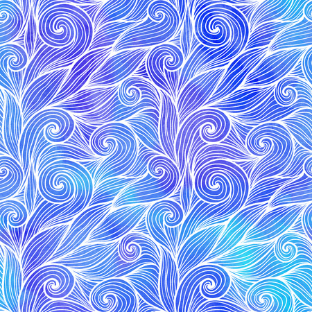 water stained: Light blue doodle hair waves seamless pattern