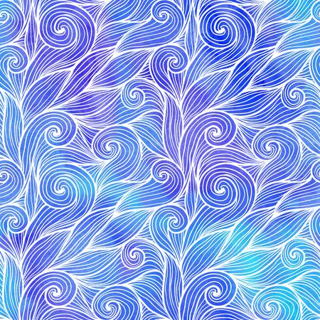 textura pelo: Olas pelo garabato azul claro sin patrón Vectores