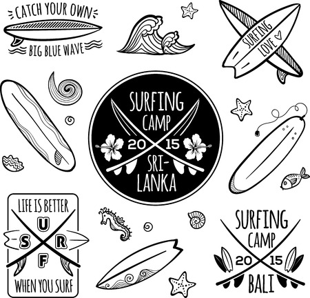 Surfing logos vector set Illustration