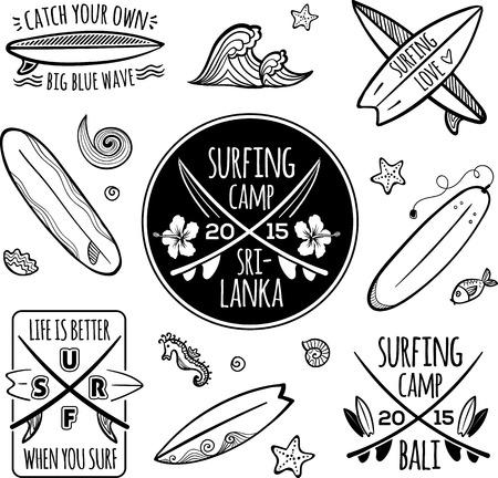 Surfing logos vector set Ilustrace