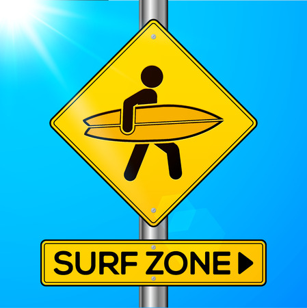 california beach: Surf zone yellow road sign on sky background Illustration