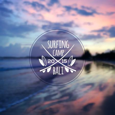 ocean sunset: White surfing camp  on blurred ocean sunset photo background
