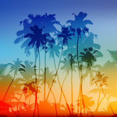 Vector palms silhouettes tropical sunset background Иллюстрация