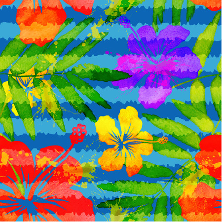 tropical flowers: Bright vivid colors watercolor tropical flowers seamless pattern with grunge stripes
