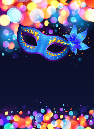 venice carnival: Blue carnival mask vector poster background