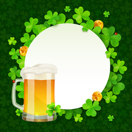 irish beer: Mug of light beer on green clovers round background, St. Patricks Day illustration