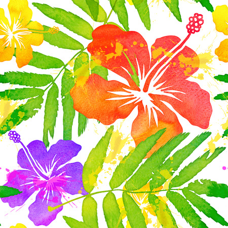 tropical flowers: Bright watercolor tropical flowers vector seamless pattern Illustration