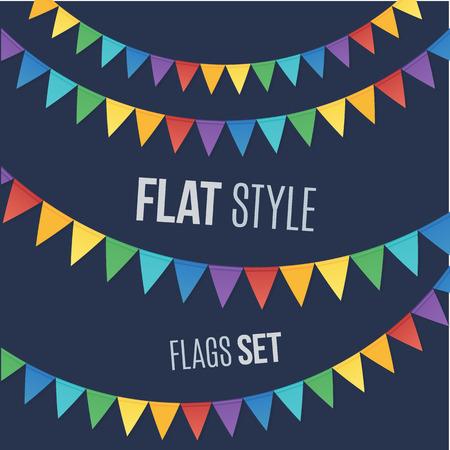 ni�os con pancarta: Rainbow banderas vacaciones colores estilo plano guirnaldas establecen sobre fondo oscuro Vectores
