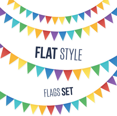 Rainbow colors flat style holiday flags garlands set on white background
