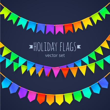 arco iris: Colores vivos del arco iris banderas guirnaldas conjunto aislado sobre fondo oscuro