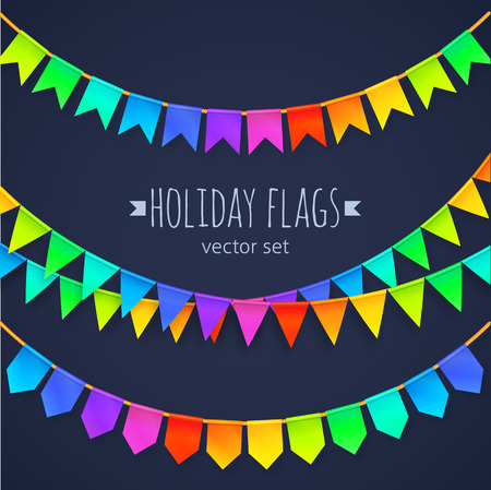 bunting: Vivid colors rainbow flags garlands set isolated on dark background