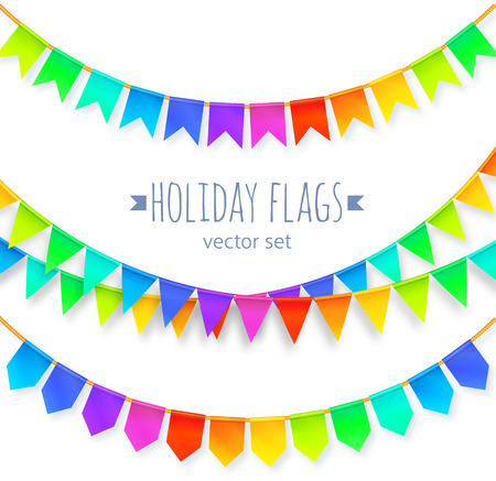 vivid colors: Vivid colors rainbow flags garlands set isolated on white background