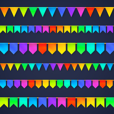 rainbow: Vivid colors rainbow flags garlands set isolated on dark background