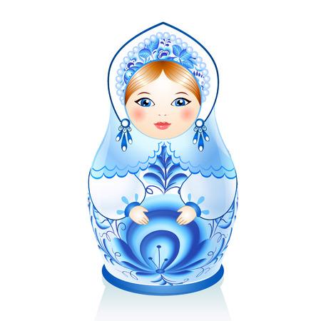 Blue Russian doll Matreshka in gzhel style