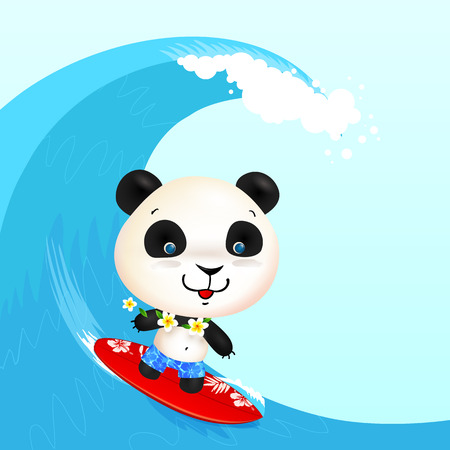 beach closed: Little cute surfer panda surfing in blowing wave