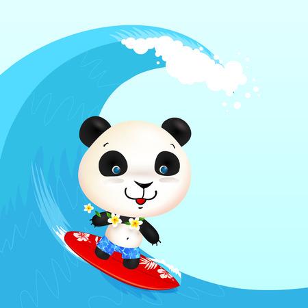 blow up: Little cute surfer panda surfing in blowing wave
