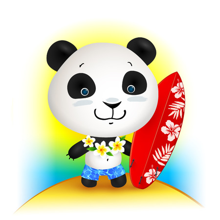 Little cute surfer panda, vector illustration Illustration