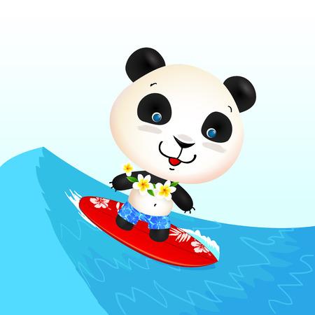 funny surfer: Little cute surfing panda on blue wave