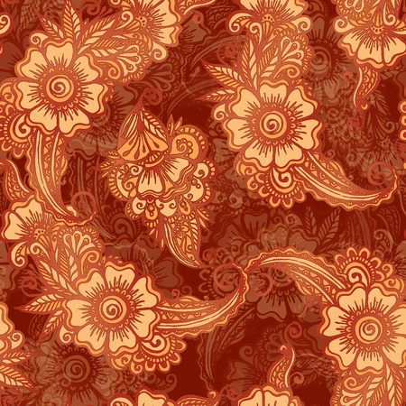 Chocolate colors floral seamless pattern in Indian henna mehndi style Vector