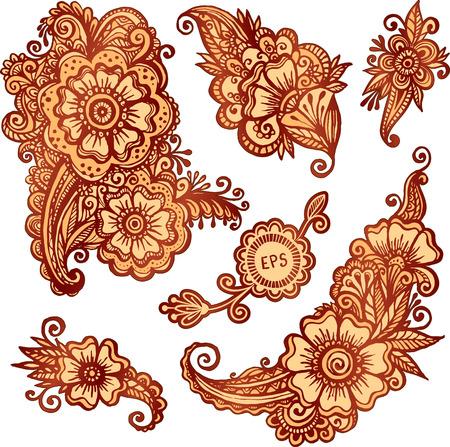 mendi: Hand-drawn ornaments set in Indian mehndi style Illustration