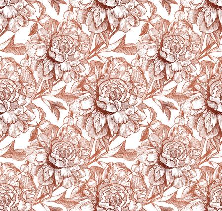 peon: Vintage style vector peonies beige seamless pattern