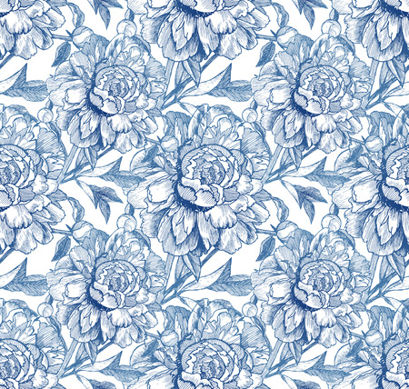 peon: Vintage style blue vector sketched peonies seamless pattern Illustration