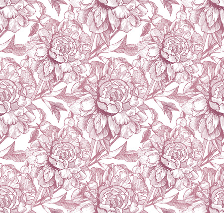 peon: Vintage style vector peonies pink seamless pattern Illustration