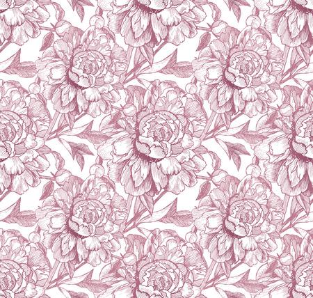 peon: Vintage style vector peonies pink seamless pattern Illustration