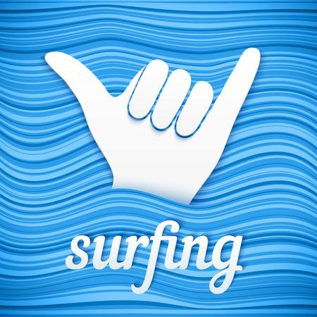 サーフィン ブルー ウェーブ背景紙記号ベクトル サーファー シャカ手  イラスト・ベクター素材
