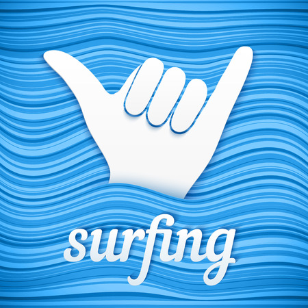 Vector surfers shaka hand with paper sign surfing on blue waves background