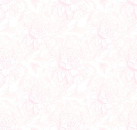 peon: Vintage style vector peonies light pink seamless pattern Illustration