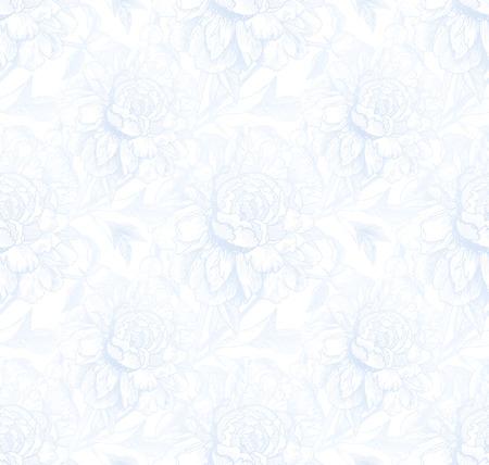 peonies: Vintage style vector peonies light blue seamless pattern