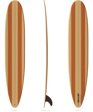 Vector surfing longboard all sides view with wooden texture Illustration