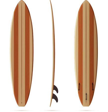 Wooden texture retro vector malibu surfing board