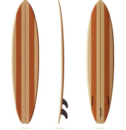 surfing board: Wooden texture retro vector malibu surfing board