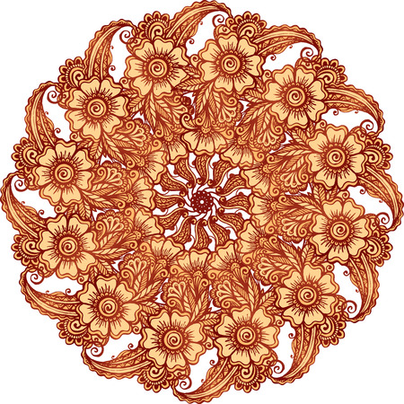 ornamental: Indian mehndi henna tattoo style vector mandala Illustration