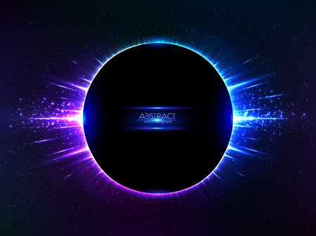 cosmic rays: Dark blue vector shining cosmic ring with rays