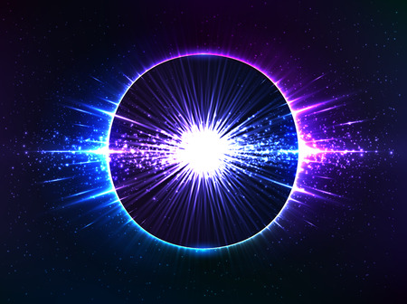 Blue cosmic explosion, vector abstract at dark background