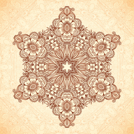 indische muster: Dekorative Stern-Mandala in indisches mehndi Stil, Vektor nahtlose Muster Illustration