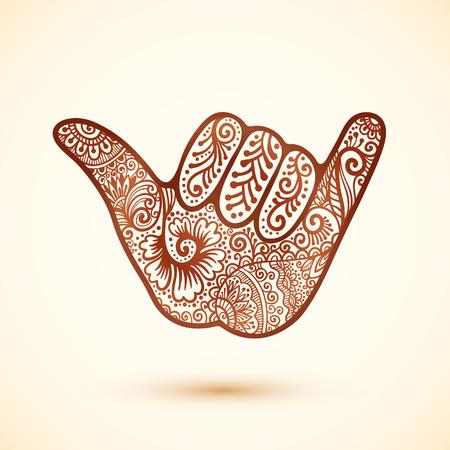 Vector shaka surfers hand in Indian henna tattoo style Illustration