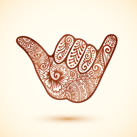 Vector shaka surfers hand in Indian henna tattoo style Vectores