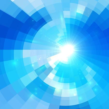 textura: Tecnologia azul abstrata do vetor do fundo do círculo do mosaico Ilustração
