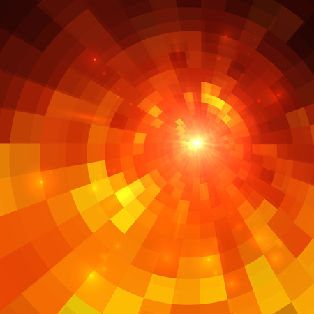 Abstract vector orange circle technology mosaic background