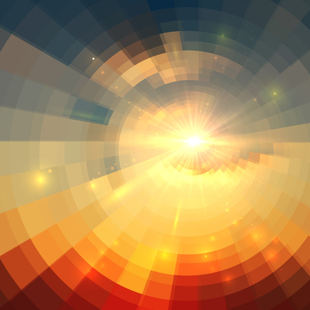 dawn: Abstract vector sunrise circle technology mosaic background